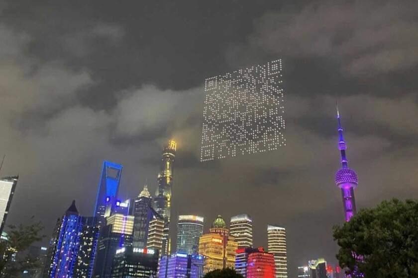 Crean código QR con drones en China para descargar videojuego